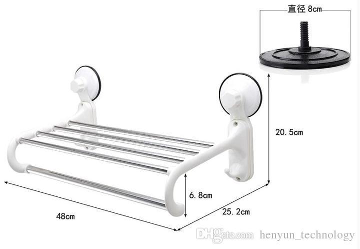 HOT Double Stainless Steel Wall Mounted Bathroom Towel Rail Holder Rack Shelf