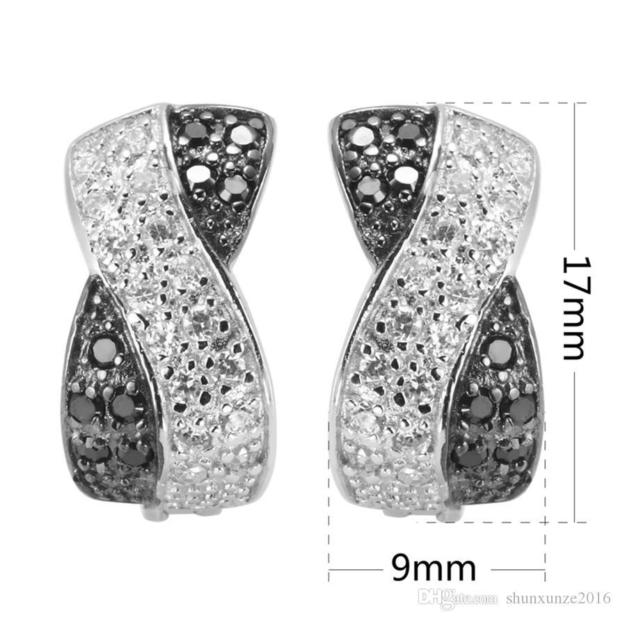 Das neue Produkt Promotion Edle Großzügige Bestseller Q-2157 Weiß und Schwarz Zirkonia Shinning 925 Sterling Silber Mode Ohrringe