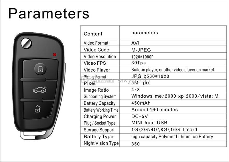 كامل HD 1080P سيارة مفتاح الكاميرا البسيطة DVR S820 مع رؤية ليلية سيارة كشف الحركة كاميرا صغيرة ذات الثقب الكاميرا