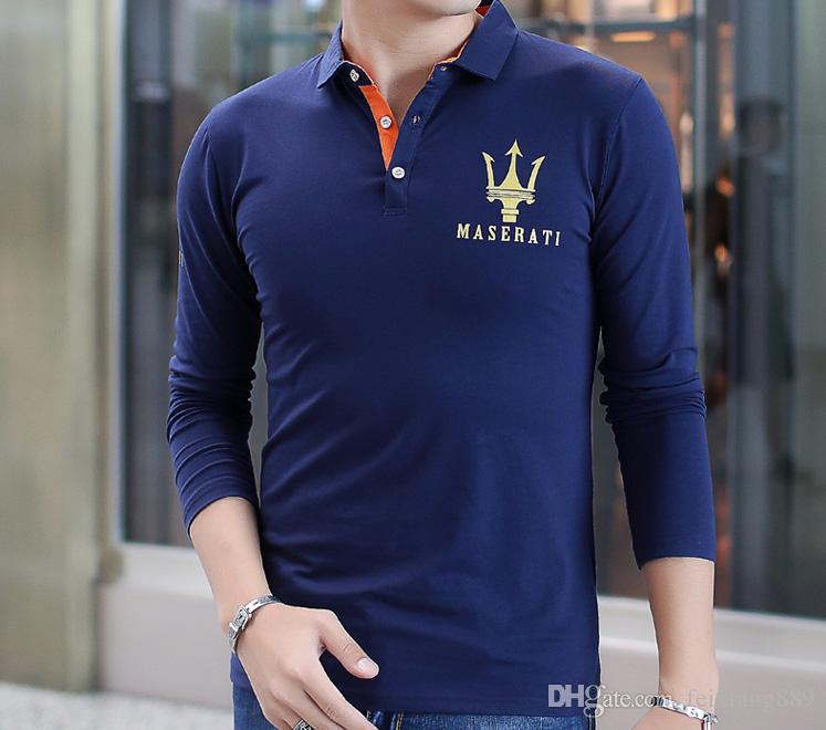 long sleeve 2018 new Maserati Crown Polo Shirts Golf Slim Comfortable Designer Formal Polo Shirts with Cotton Blend for Men ,Size M-5XL,free
