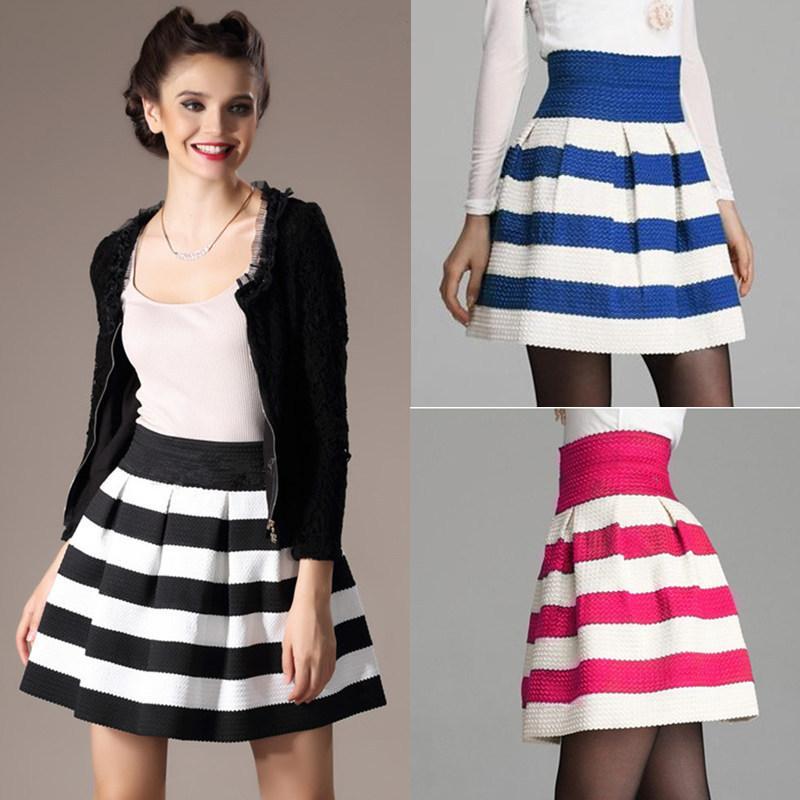 New Fashion Women Ball Gown Short Skirt Top Quality Knitted Stripe Patchwork High Waist Cute Skater Skirt Blue Free Shipping