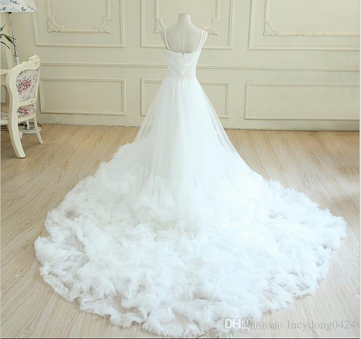 New White Cloud Beautiful A Line Sweetheart Court Train Tulle Ball Gown Wedding Dresses
