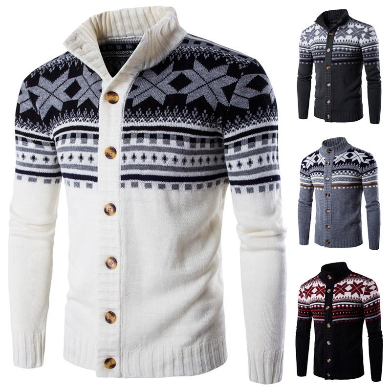 New Fashion Sweater Men Stand Collar Single Breasted Long Sleeve Casual  Knitted Sweater Man White Cardigan Sweater UK 2019 From Wonderful9 76700b1ac