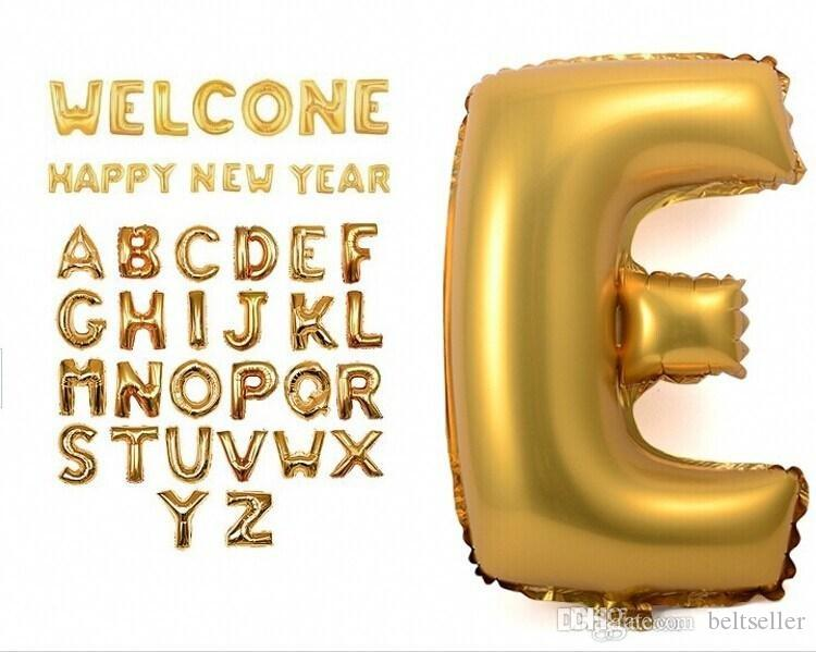 16 Inch Gold Silver Alphabet Helium Aluminum Foil Balloon 26 Letters Wedding Christmas Birthday Baby Shower Party Decoration Supplies