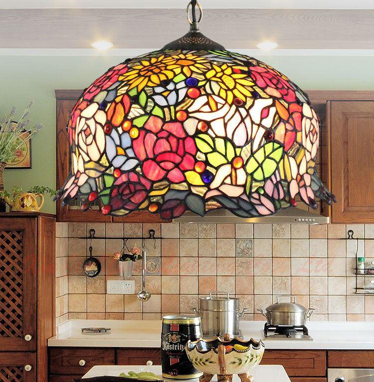 Discount European Tiffany Chandelier Lighting Living Room Dining Den Bedroom Single Head 16 Inch Stained Glass Lamp Vintage Pendant