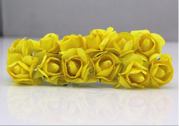 Ücretsiz Kargo 2-2.5 cm kafa Renkli Dut Kağıt Çiçek Buketi / tel kök / Scrapbooking yapay gül çiçekler 144 adet / grup