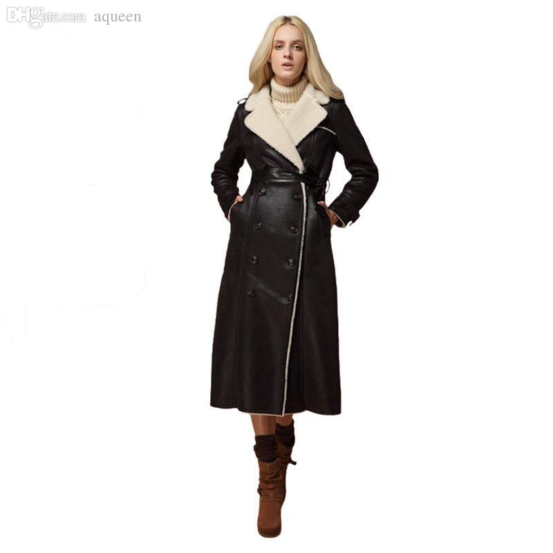 34 - 2017 Wholesale 2016 Women Fashion Extra Long Leather Jacket Double