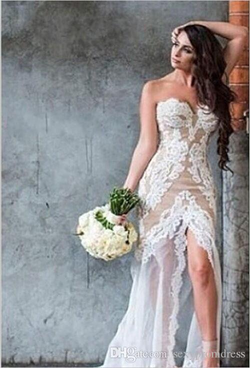 2015 Corset Lace Wedding Dresses Vintage Sexy Sweetheart Covered Button Back Mermaid Bridal Gowns Chapel Train Open Back Summer Wedding Gown