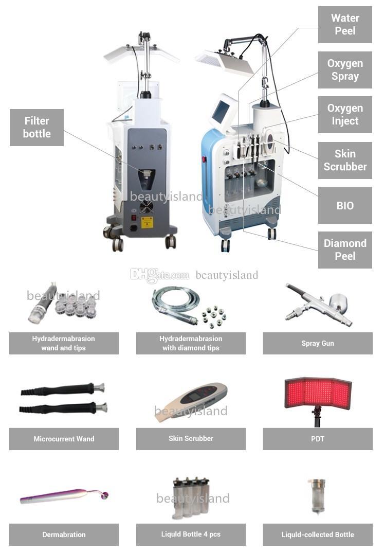 PDT LED 라이트 치료 Hydradermabrasion 다이아몬드 미세 박피 산소 제트기 껍질 BIO 미세 전류 스킨 스크러버 7 일 Hydrafacial 기계
