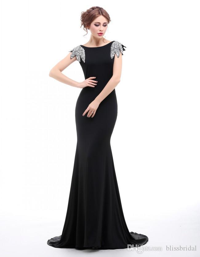 100% de vraies photos noir sirène robes de bal avec des paillettes à mancherons des robes des femmes balayent train dos nu sexy robes de soirée