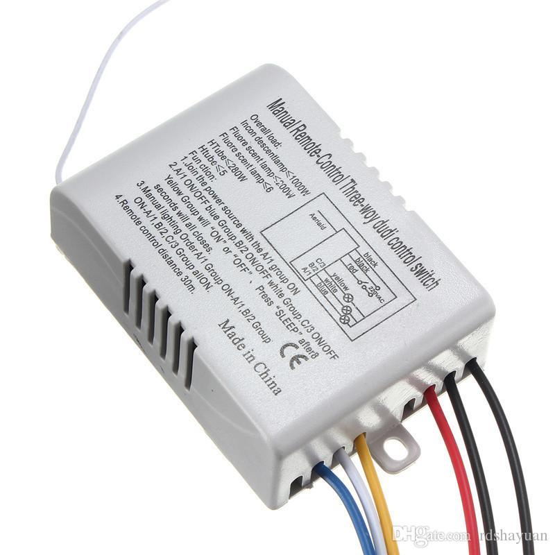 3 Way Port ON/OFF Wireless Digital RF Remote Control Switch Receiver Transmitter For Light Lamp 220V energy-saving