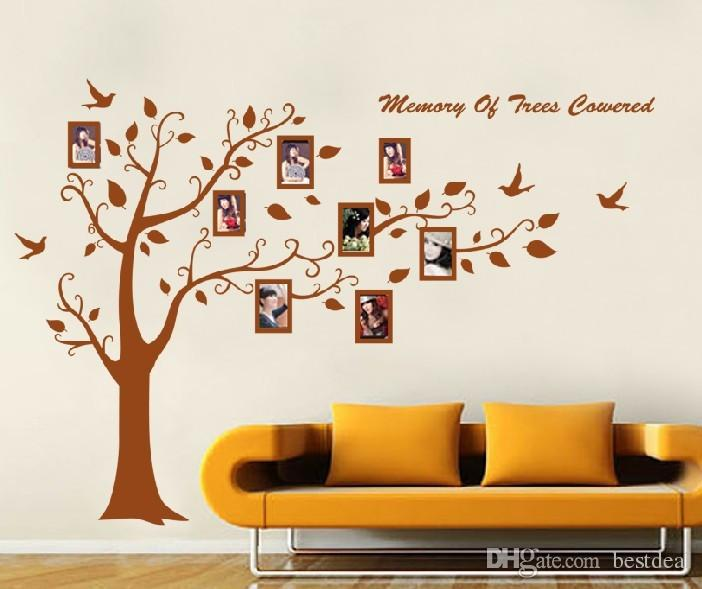 Removable Wall Art christmas promotion 250*180cm brown photo frame tree family