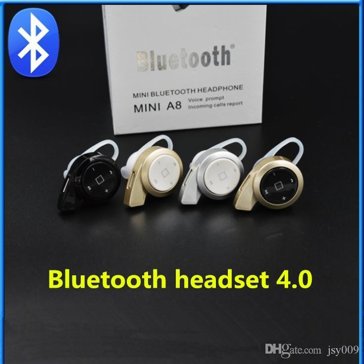 Isolement de bruit A8 Snail Mini Bluetooth casque écouteur sans fil Casque intra-auriculaire intra-auriculaires pour iPhone iPad Sumsang HTC IOS Phone
