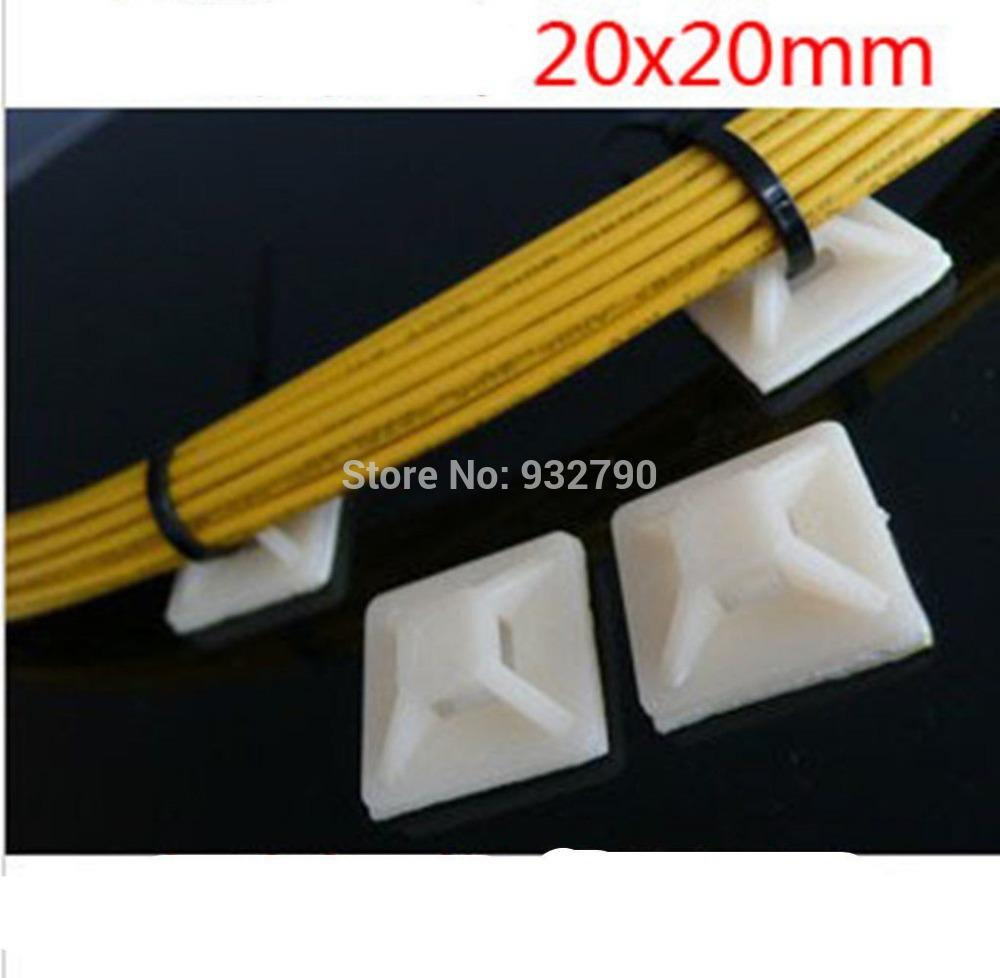 New 20mm*20mm Self Adhesive 20mm Cable Holder White Zip Tie Cable ...