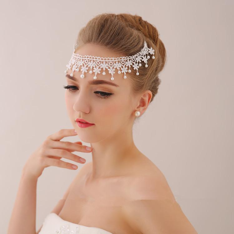 Vintage New Fashion Wedding Bridal Bridesmaid White Lace Flower Pearl Beaded Forehead Band Hair Accessories Crown Tiara Headband Jewelry