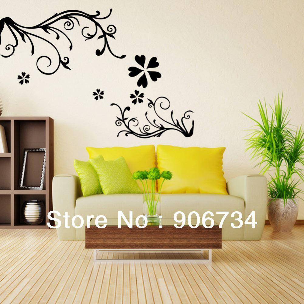 Flowers Pattern Design Removable Vinyl Decal Wall Sticker Decor on ...