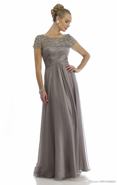 2018 Elegant Mother of Bride Dresses Short Sleeve Beading Crystals Chiffon Formal Evening Casual Dresses Wedding