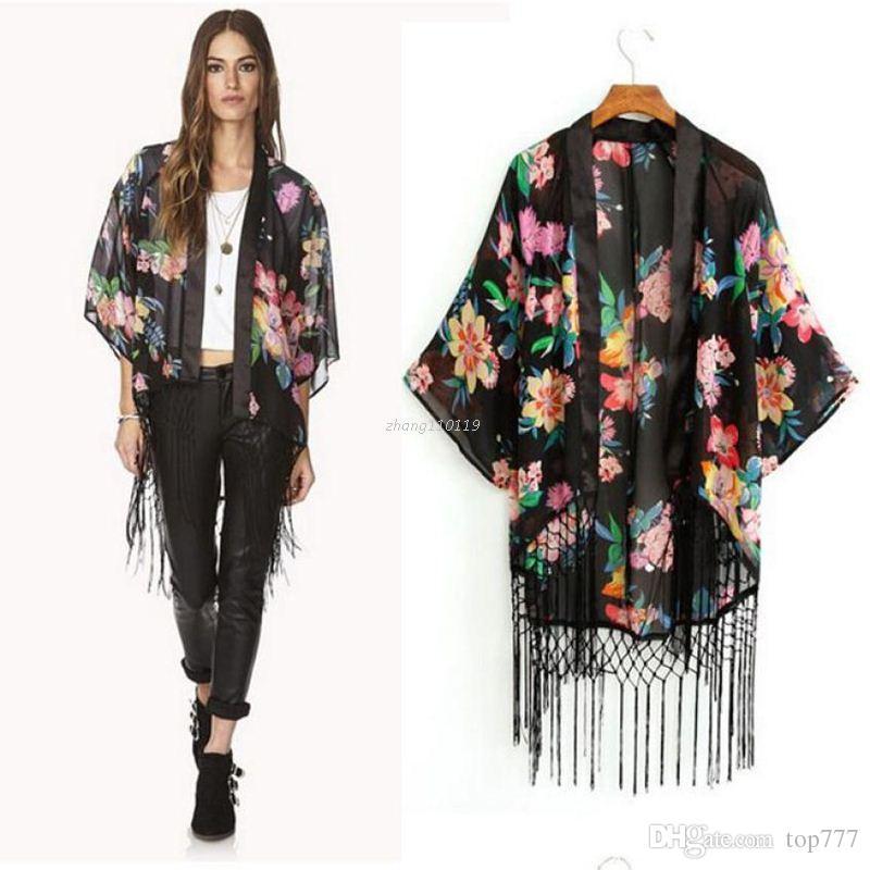 Best Chiffon Tops Tassel Shawl Kimono Cardigan Blusa Feminina 2016 ...