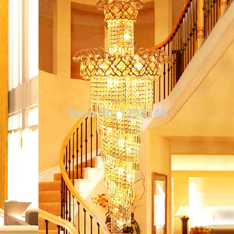 Big spiral stairway crystal chandelier led lamps long gold see larger image aloadofball Image collections