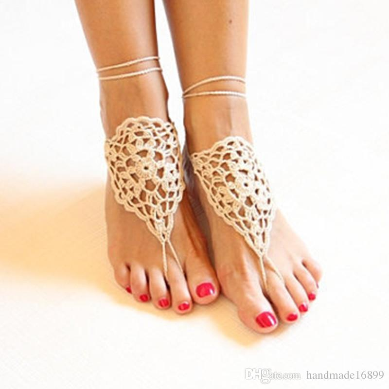 Feet Thongs Foot Decoration Belly Dance Shoes Yoga Barefoot Beige Barefoots Bridal  Beach Barefoot Crochet Beige Barefoot Victorian Lace Sandals For Women ... f161aced7986