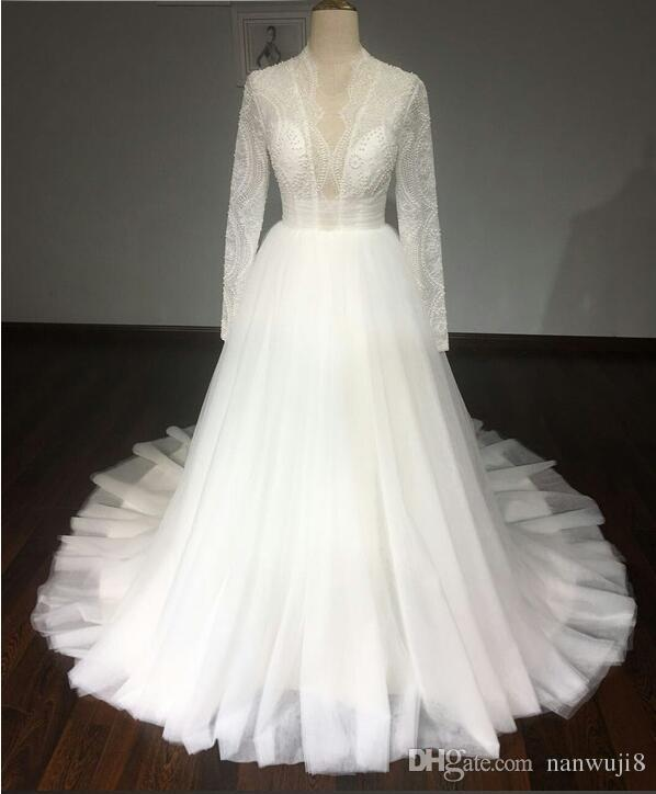Discount Real Samples Ball Gown Puffy Wedding Dress 2017 Lace Long ...