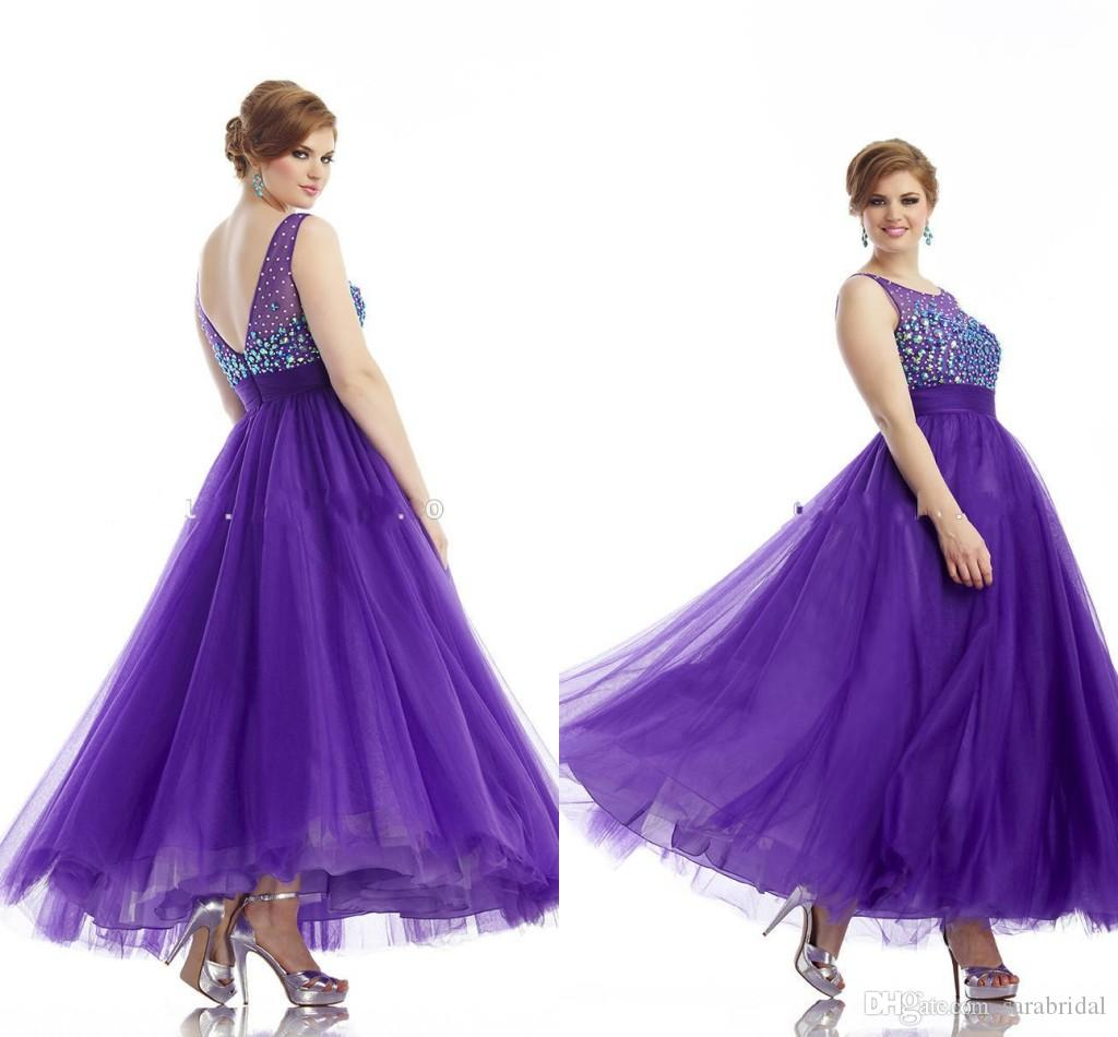Purple Plus Size Prom Dresses Cheap Jewel V Neck Back Crystal Beaded