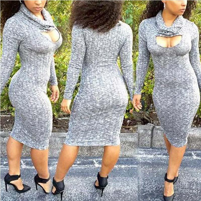 2016 hot Long Sleeve Low Cut V Neck Sexy Sheath Neck Bandage Bodycon Dress sexy party dresssexy party dress style of short long