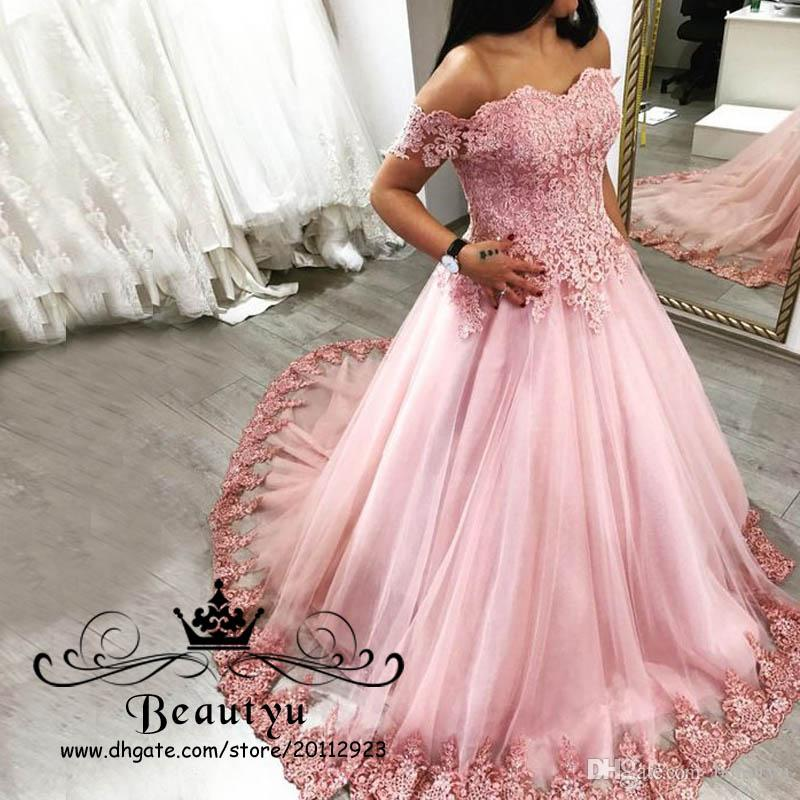 Pink Lace Tulle Prom Dresses Long A Line Off Shoulder Corset Party ...
