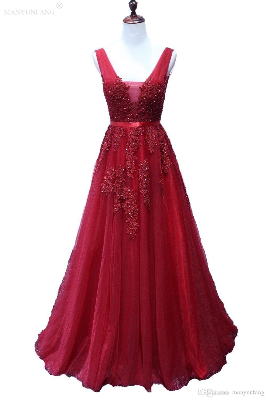 Acquista Vestido 2018 Rosso Lungo Una Linea Elegante Prom Abito Da Sera  Girocollo Spaghetti Pizzo Abito Da Festa Abiti Occasioni Speciali Piega Abito  Da ... 231e06d661f
