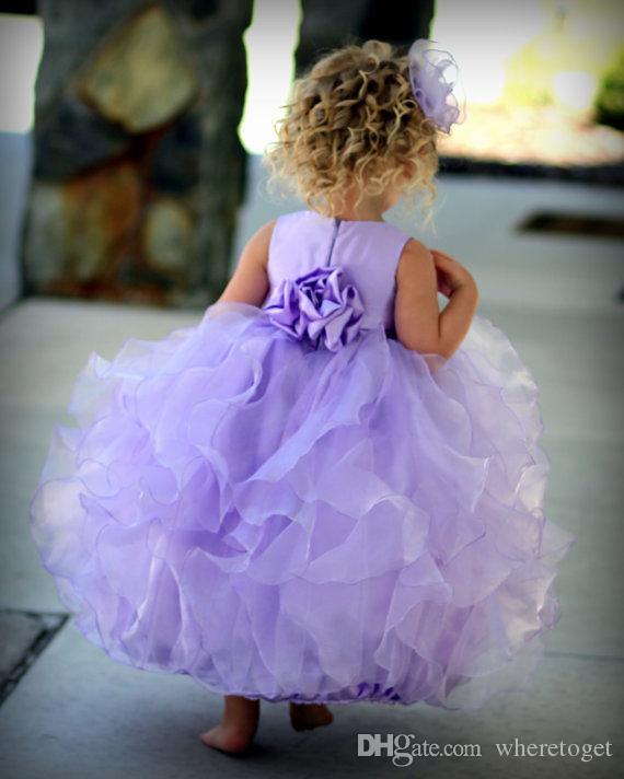 جميل لافندر الكرة ثوب زهرة فتاة فساتين لحفلات الزفاف الأورجانزا الكاحل طول ليتل فتاة فساتين السهرة مخصص رخيصة