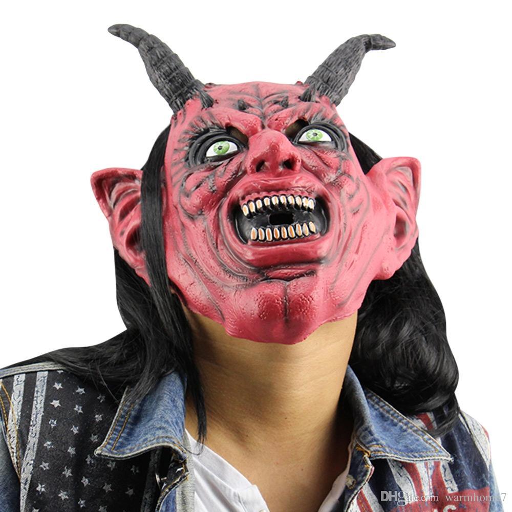 Diabo Máscara De Látex Horror Engraçado Olhos Vermelhos Satanás Diabo Máscara De Látex com Peruca Ox Horn para Masquerade Halloween Party Bar masquerade Halloween fun
