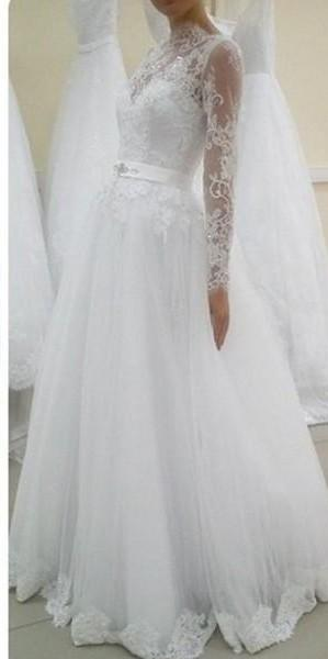 Vestido de Noiva 2015 A-Line Wedding Dresses with Sheer Illusion Neckline Fashion Design Long Sleeve Lace Bridal Gowns with Embroidery new
