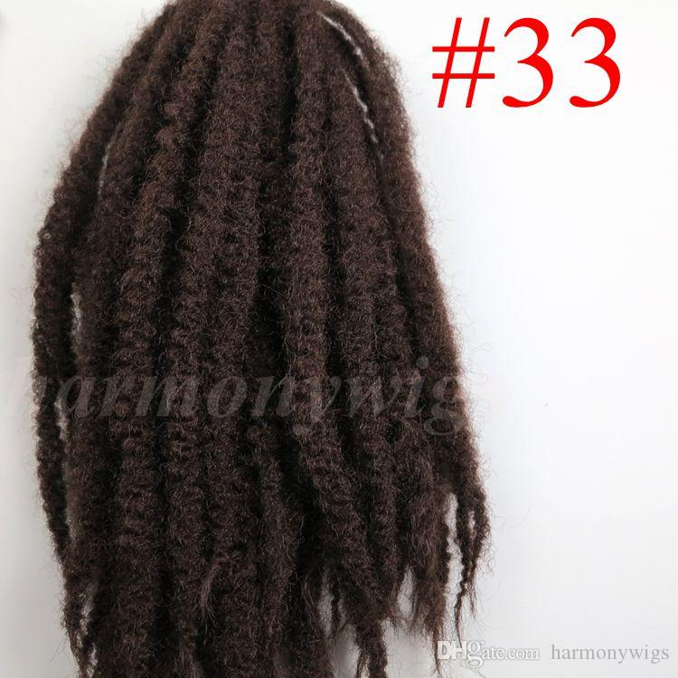 Afro Kinky Marley Braid Hair 20inch 100g #33/Dark Auburn Brown 100% Kanekalon Synthetic braids twist Hair Extensions