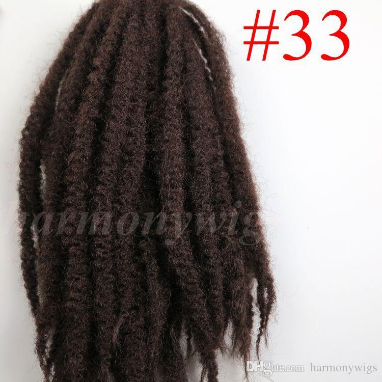 Tresses synthétiques Afro Kinky Marley Braids Cheveux 20 pouces # 2 / Brun foncé 100% Kanekalon Crochets synthétiques Crochet tordent les extensions de cheveux