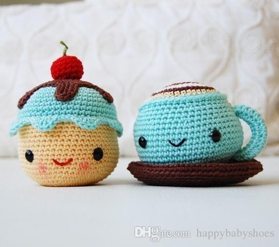 Amigurumi Tığ Bay Kahve ve Bayan Kek çıngırak oyuncak hediye el yapımı bebek