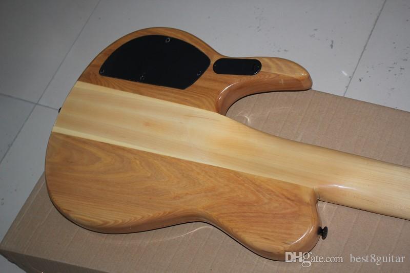 2015 Nuovo arrivo Top Quality Nature Wood One Piece Acero Collo attraverso il corpo 9V attivo Pickup Butterfly 6 corde basso elettrico