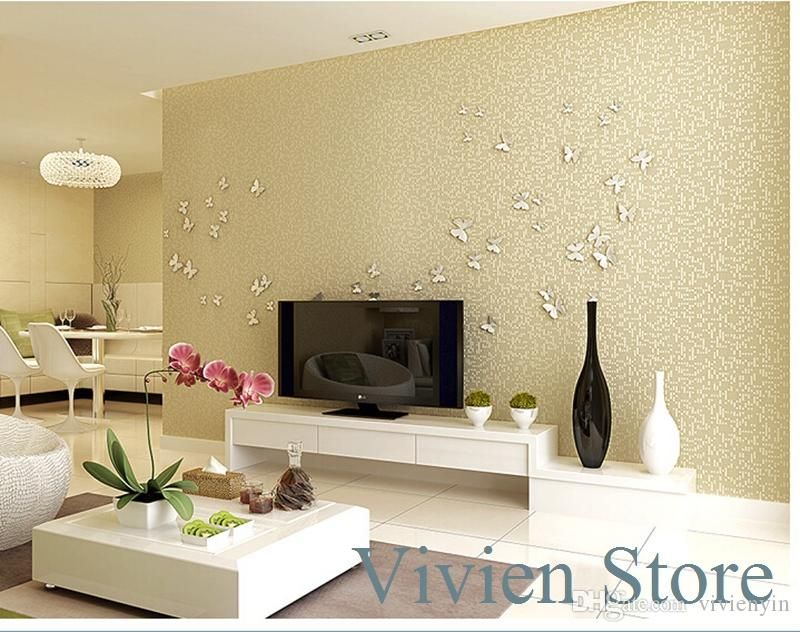 Flax Plain Solid Color Non Woven Wallpaper The Popular Modern Simple ...