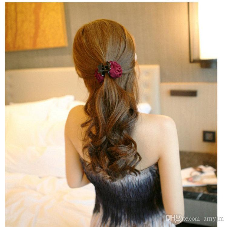 Venta al por mayor 360 unids moda chicas mujeres corea estilo algodón rosa flor arco de pelo garra de la mandíbula Clip abrazadera Barrette grande flor accesorios para el cabello