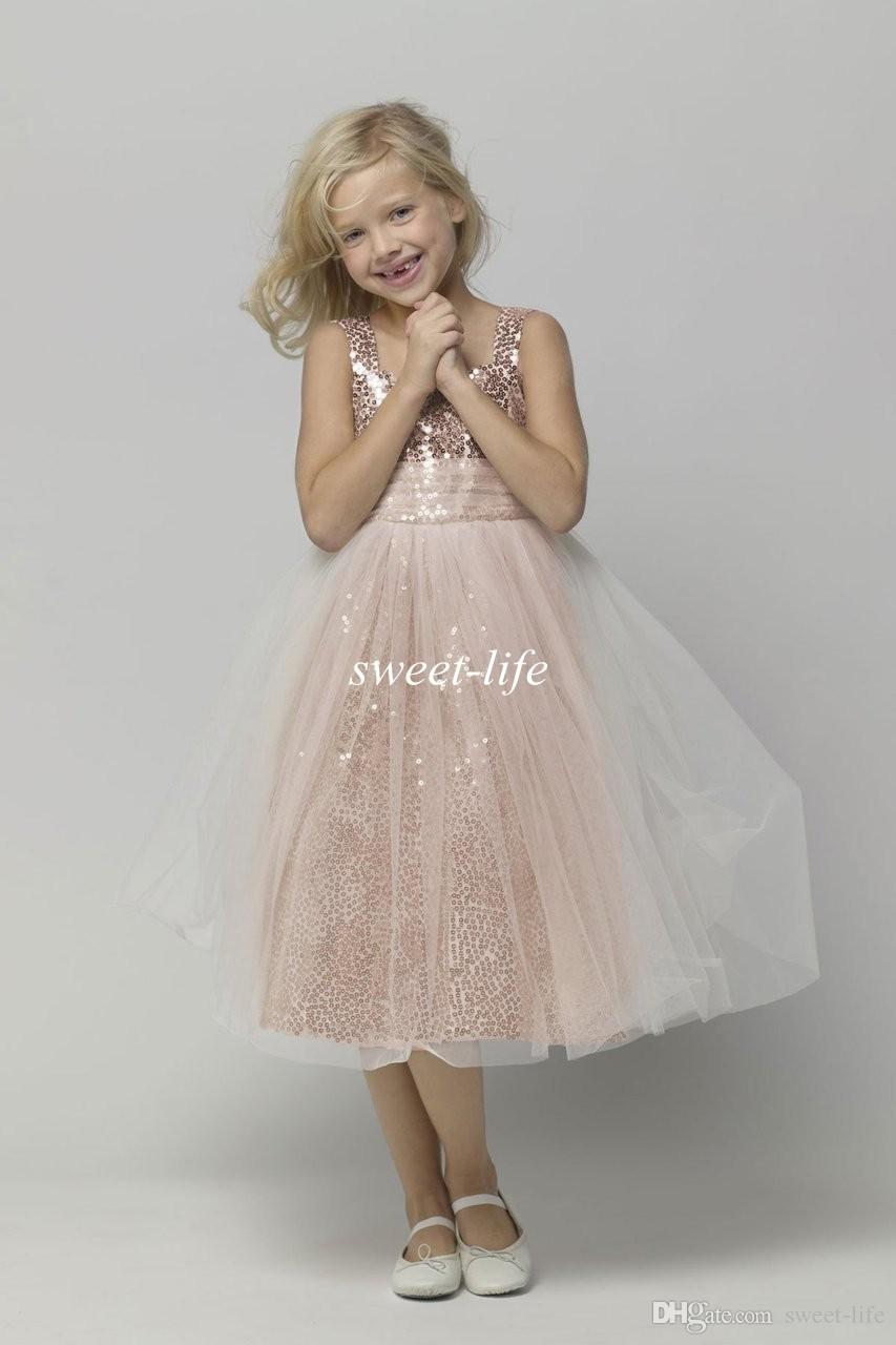 Hot Sale Tea Length Flower Girl Dresses for Wedding Rose Gold Bling Sequins 2015 Cheap A-Line Tulle Children Birthday Girls Pageant Dresses