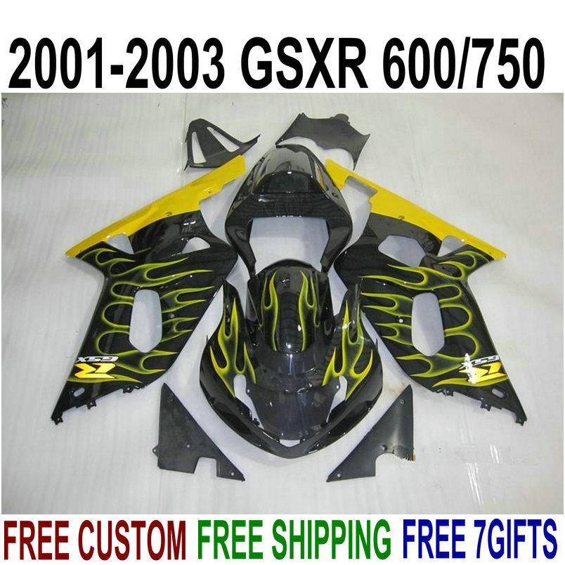 Perfect fit for SUZUKI GSXR600 GSXR750 2001-2003 plastic fairings set K1 01 02 03 GSX-R 600 750 yellow flames black fairing kit DB8