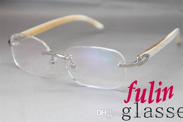 Oro al por mayor de plata 8200757 o 8200758 Blanca cuerno genuino marca de las lentes de los vidrios de plata del metal del oro montura de las gafas Tamaño del marco: 56-18-140mm
