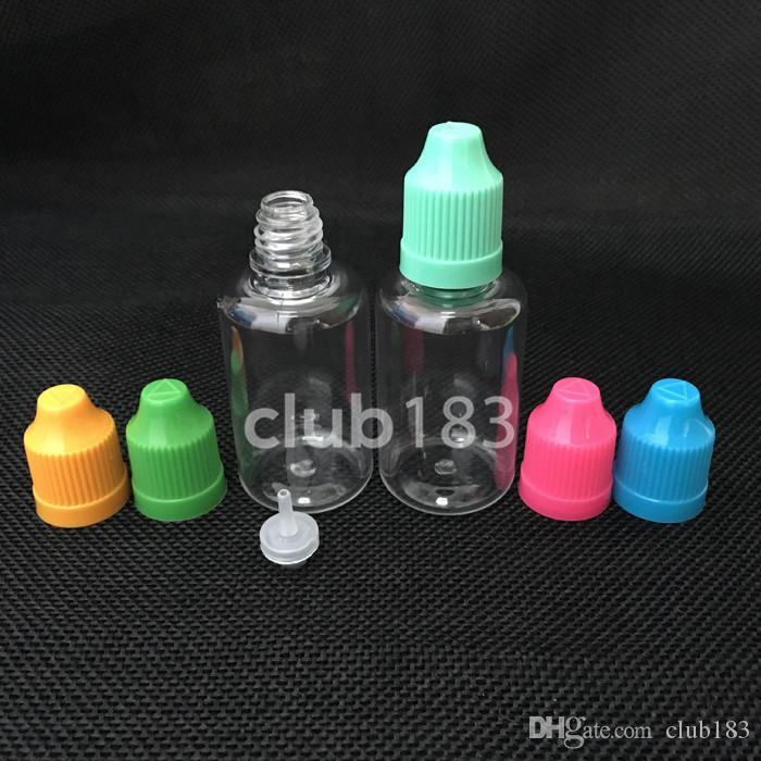 Freies Verschiffen Leere Tropfflasche PET Nadel Flaschen mit Kindersicherheits Cap und langen dünnem Tropferspitze 30ml E-Flüssigkeitsflaschen