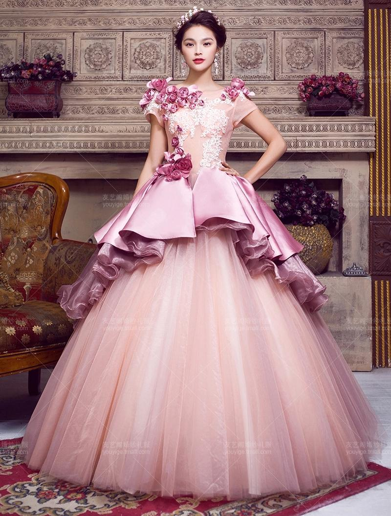 100%real Royal Embroidery Ruffled Ball Gown Medieval Dress ...