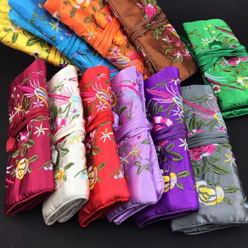 Вышивка Цветок Птицы Ювелирные Изделия Путешествия Roll Up Сумка Большая Портативная Косметическая Сумка Молния Шнурок Макияж Сумка Для Хранения Мешок