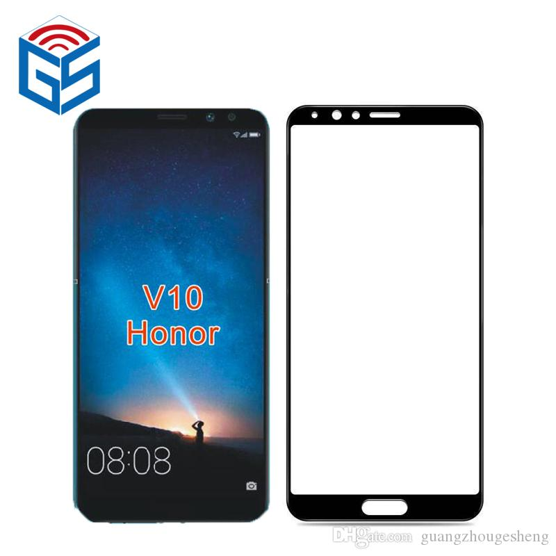 6a16d305620 Protector Para Telefono Para Huawei Honor V10 Ver 10 Cubierta Completa Vidrio  Templado 9H Protector De Pantalla Película Embalaje Al Por Mayor Cubre ...