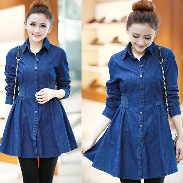 4a8e8efe2ce 2019 2015 New Women Dark Blue Casual Denim Shirt Dress Ladies Long Sleeve  Turn Down Collar Preppy Style Jeans Dresses Vestidos HL010 From Junlong01