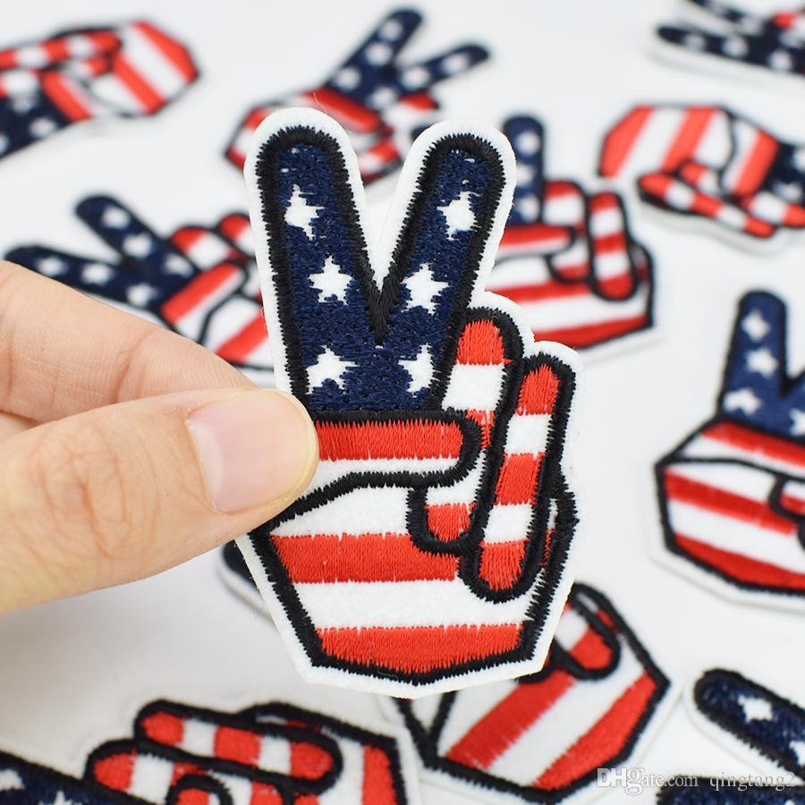 10 PZ Vittoria bandiera Distintivo Ricamo Patch Abbigliamento Borse Ferro sul Trasferimento Applique Patch Indumento Giacca FAI DA TE Cucire Ricamo Distintivo