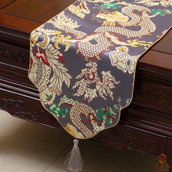 Verdicken Drachen Muster Tischläufer chinesischen Stil mit hoher Dichte Seide Brokat Kaffee Tischdecke Esstisch Matten Home Dekorationen 4 Größe