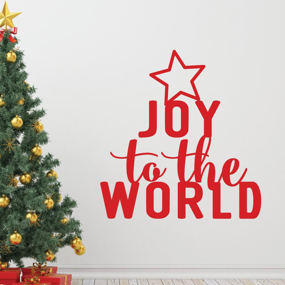 merry christmas tree joy to the world quotes wall sticker home decor art vinyl holiday decals diy removable room mural m 217 stickers wall decor stickers