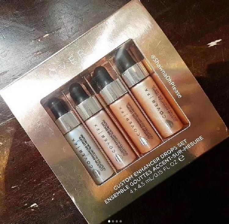 새로운 커버 FX 사용자 정의 강화제 삭제 세트 앙상블 Gouttes 악센트 - Sur-Mesure Face 형광펜 파우더 / 세트 글로우 4.5ml 액체 형광펜